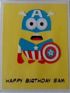 Paper pieced Captain America Minion Birthday card- personalised