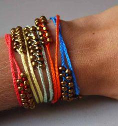 DIY Neon Braided Bead Bracelet