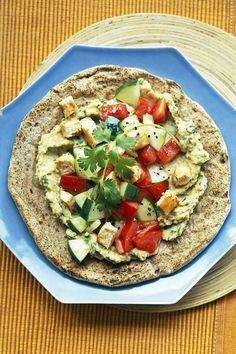 Make the hummus and chicken for these Mediterranean tostadas the day before. The next day, have a great lunch ready to go.
