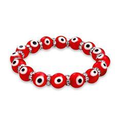 Bling Jewelry Bracelet Mauvais Oeil Rouge Elastique et Cristal de Swarovski 19cm