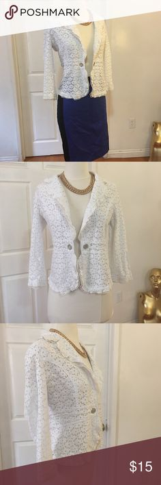 Cotton Embellished Lace Blazer Size M but fits like S  Chest  Length   Very good condition   Please measure yourself before buying anything from my closet Hand washed items unless tag says dry clean only. I don't dry clean, if you want me to do it, I'll charge $10 extra.  Thank you for understanding. Boutique Jackets & Coats Blazers
