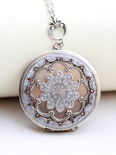 Collar medallón medallón de plata joyería medallón blanco