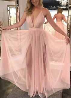 BIG OFF promotion for One Day!Light Peach Tulle Prom Dresses Long Deep V Neck Evening Dresses Backless Formal Gowns Sexy High Slit Party Dress Spaghetti Straps Graduation Dresses