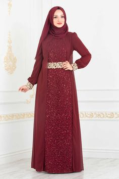 NEVA STYLE - CLARET RED HIJAB EVENING DRESS 25717BR Street Hijab Fashion, Abaya Fashion, Muslim Fashion, Women's Fashion Dresses, Muslimah Wedding Dress, Muslim Wedding Dresses, Muslim Dress, Kebaya Muslim, Dress Brukat