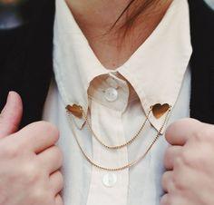 Heart collar pins