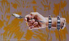 DEN LÖFFEL ABGEBEN - Acrylmalerei auf Holz 100x60cm (acrylics on board), 2010