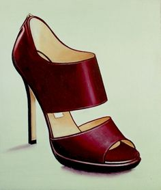 Jimmy Choo- Still Life Painting Of Red Open Toe Shoe, painting by artist Gerard Boersma