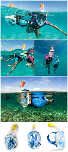 Seaview 180° GoPro Compatible Snorkel Mask- Panoramic Full Face Design. See More With Larger Viewing Area Than Traditional Masks. Prevents Gag Reflex with Tubeless Design