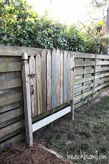 head board that looks like a garden gate! I love reclaimed wood furniture!
