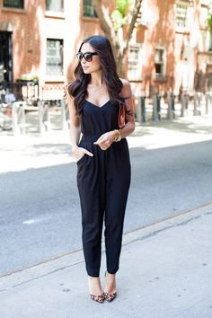Try this sophisticated look with a black romper!
