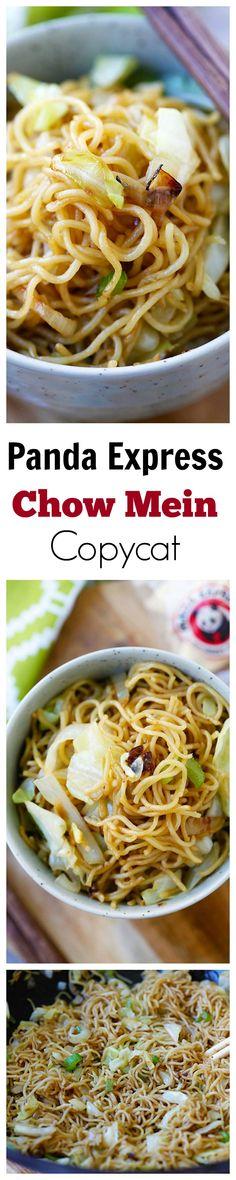 #chinesenewyear BEST Panda Express Chow Mein copycat recipe EVER that tastes EXACTLY like Panda Express!! So good, so easy, healthier & takes 15 mins!! | rasamalaysia.com
