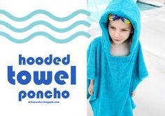 delia creates: Blue: Hooded Towel Poncho