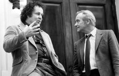 """Director Bob Clark confers with Jack Lemmon on the set of """"Tribute"""" (1980)."""