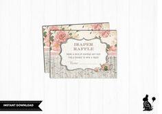 Tea Party BABY SHOWER Diaper Raffle Ticket. von BlueBunnyPrintables