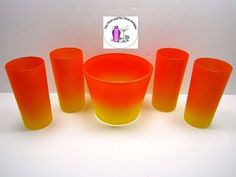 Vintage-Retro-Orange-Yellow-Blendo-Style-Ice-Tub-4-Tumblers-Glasses-Set