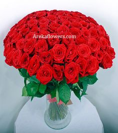 LOVE GALORE 35 Red Roses Long stem hand bouquet. Free message card
