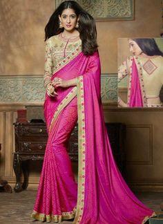 Magenta Pink Embroidery Border Work Jacquard Silk Fancy Designer Print Sarees http://www.angelnx.com/Sarees/Party-Wear-Sarees