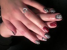 Shellac by CND   Done by Heather Davis Nailz   Black Pool, Cream Puff, and Black Pool and Decadance Layered on Ring Fingers :) Hand Painted Zebra Nail art designs :)