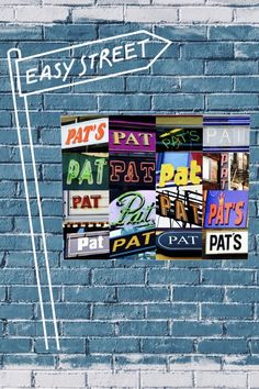 Custom canvas featuring the name PAT in photos of actual signs! Perfect for a kid's room, dorm room, mancave -- or anywhere :-)