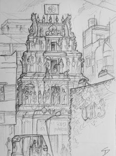Visit the post for more. Hindu Temple, Urban Art, Art Blog, Sketches, Gardens, India, Gallery, Drawings, Travel