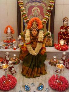 "Varalakshmi Vratham or Varalakshmi Vrat is the festival to appease Goddess Lakshmi, the consort of Lord Vishnu. Vara means that ""boon"" and Lakshmi means ""Goddess of Wealth"". Diwali Decorations, Festival Decorations, Flower Decorations, Mandir Decoration, Ganapati Decoration, Ganesh Chaturthi Decoration, Silver Pooja Items, Pooja Room Door Design, Rangoli Designs Flower"