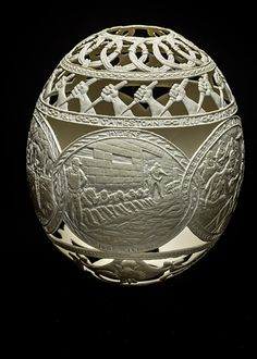 Hatched in Prison - Carvings on Ostrich Eggs. See more art and information about Gil Batle, Press the Image.