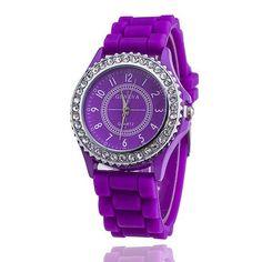 Hot Silicone GENEVA Watch Women Rhinestone Watches Fashion Casual Quartz Watch Sport watch