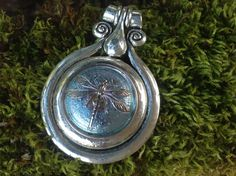 Tibetan Antique Silver pendant with a stunning center of a Hand Painted Dragon Fly, Blue Czech Glass, button. by dabsdesigns on Etsy