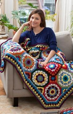 In Love with Color Throw Free Crochet Pattern from Red Heart Yarn