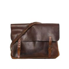 Black vintage messenger bag (cognac)