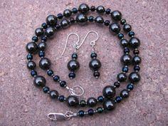 Hematite and Iridescent Bead  Necklace with by BajunaJewelry, $39.00