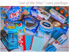 out of the blue care package. Color the inside of the entire box blue. Creative Gifts, Cool Gifts, Best Gifts, Craft Gifts, Diy Gifts, Blue Gift Basket, Missionary Care Packages, Missionary Gifts, Box Of Sunshine