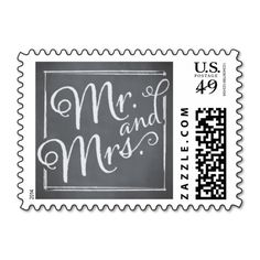 Chalkboard Script White Mr. and Mrs. Postage Stamps