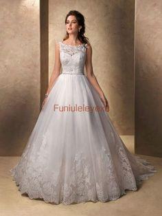 A Line Boat Neck Sleeveless White Bridal Gown New Lace Wedding Dress Custom Make