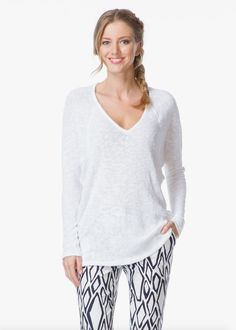 VELVET By Graham & Spencer Klara Long Sleeve V Neck Pullover Sweater White S $99 #VelvetbyGrahamSpencer #Sweater #Casual