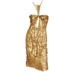 Rare TOM FORD for GUCCI Gold Sequined Silk Dress | From a collection of rare vintage evening dresses at https://www.1stdibs.com/fashion/clothing/evening-dresses/