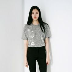 [#Peace Half Tee: Gray] A basic #tee #tshirt featuring a #cute graphic. Round neckline. Short sleeves. #Seethrough. #basictee #top #cartoontee #graphictee #koreantee #koreanclothes #koreanclothing #koreanfashion #asianfashion #fashiontoany #prayforsouthkorea
