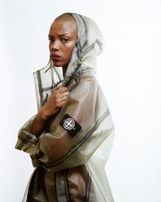 Translucent Stone Island parka with white compass patch. Really interesting piece, especially with the taped seams coming through. Cyberpunk, Stone Island Jacket, Dior, Charlotte, Raincoats For Women, Island Girl, Rain Wear, Windbreaker, Street Wear