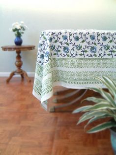 Floral tablecloth, Indian tablecloth, Turquoise tablecloth, Elegant tablecloth, Cotton Table cloth