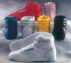 Reebok High-Tops, wore them with stretch pants. I had pink high tops. They matched my pink jeans. School Memories, My Childhood Memories, Childhood Toys, Sweet Memories, 80s Fashion, Look Fashion, Reebok Freestyle, Style Retro, 80s Style