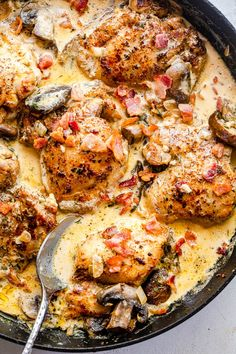 Creamy Garlic Bacon Chicken Thighs recipe is a sizzling blend of herbs, spices, and tender chicken - all in a deliciously indulgent, creamy bacon-y sauce! This dish is fantastic anytime, but the smoky bacon and pungent thyme make it especially satisfying for fall. #chickenrecipes #chickenthighs #bacon