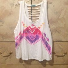 Colorful tank top Pink and red tank top with tips on back. Worn once and in great condition. Reasonable offers considered  Tilly's Tops Tank Tops
