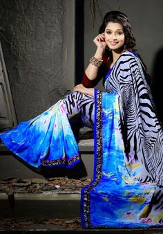 USD 39.57 Blue Printed Faux Georgette Party Wear Saree    37021