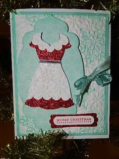 Mrs. Claus' Merry Christmas. Made with Stampin' UP!'s Dress Up Framelit Dies. Happy Crafting!~ Dee