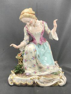 Beautiful LARGE Meissen Figurine of Kneeling Woman Gardening Flower Basket C