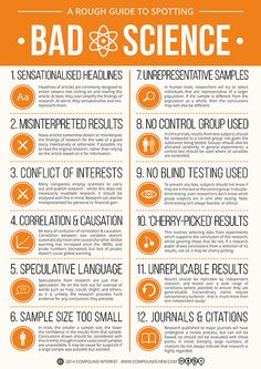 Infographic: A Rough Guide to Spotting Bad Science. A brief detour from chemistry, branching out into science in general today. This graphic looks at the different factors that can contribute towards 'bad' science - it was inspired by the research I. Science News, Science Education, Teaching Science, Life Science, Science And Nature, Science Articles, Science Resources, Science Lessons, Science Chart