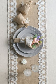 12 / 14 Wide Burlap and Lace Table by LingsWedding on Etsy