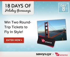 18 Days of Holiday Giveaways, Day 8: Win Two Round-Trip Tickets on Virgin America and Fly in Style!