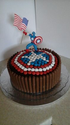 Captain  America chocolate  birthday  cake - Visit to grab an amazing super hero shirt now on sale!