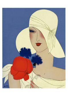 Placecards can be inspired by textiles and posters from the 1930s. Art Deco Lady with a Large Red Flower Art Print from all posters.com